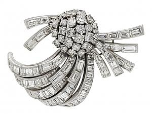 Mid-Century Diamond Brooch in Platinum