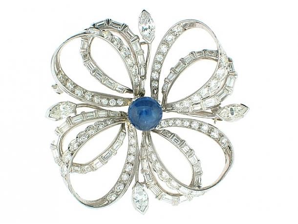 Mid-Century Diamond and Sapphire Brooch in Platinum