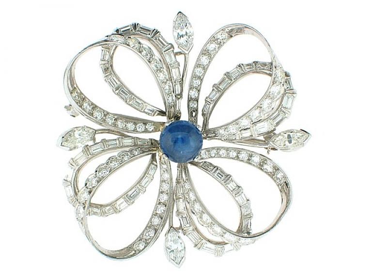 Video of Mid-Century Diamond and Sapphire Brooch in Platinum