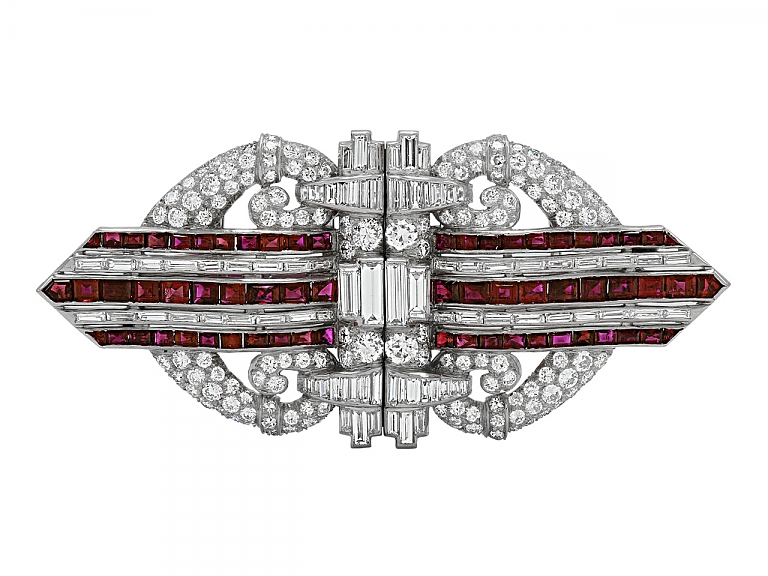 Video of Art Deco Ruby and Diamond Double Clip Brooch in Platinum