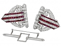 Art Deco Ruby and Diamond Double Clip Brooch in Platinum