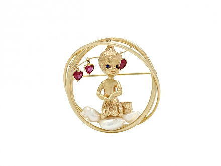 Ruser 'Monday's Child' Brooch in 14K Gold