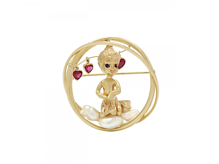 Video of Ruser 'Monday's Child' Brooch in 14K Gold