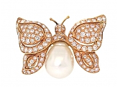 Andreou Baroque Pearl and Diamond Butterfly Brooch in 18K