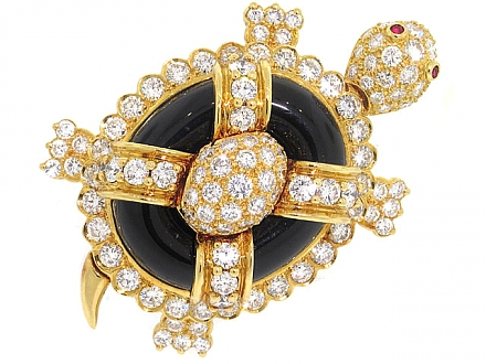 Hammerman Brothers Diamond and Black Onyx Turtle Brooch in 18K