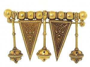 Antique Victorian Etruscan Revival Pendant Brooch in 18K