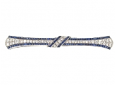 Art Deco Diamond and Sapphire Bow Brooch in Platinum