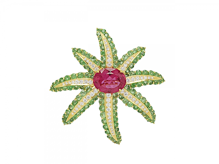 Video of Tiffany & Co. 'Fireworks' Rubellite and Tsavorite Brooch in 18K Gold
