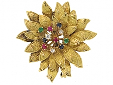 Cartier Gemstone Flower Brooch in 18K
