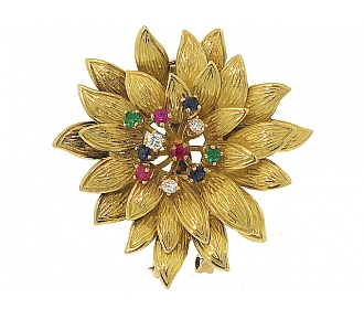Cartier Gemstone Flower Brooch in 18K