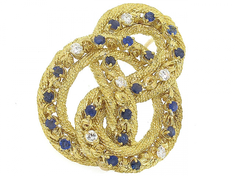 Video of Tiffany & Co. Sapphire and Diamond Brooch in 18K