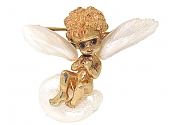 Ruser Angel Sitting On Cloud Brooch in 14K