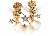 Ruser Angels On Clouds with Diamond Stars Brooch in 14K