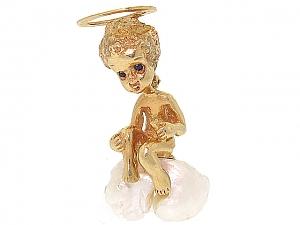 Ruser 'Sunday's Child' Brooch in 14K Gold