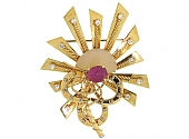 Cartier Ruby and Diamond Equestrian Brooch in 18K