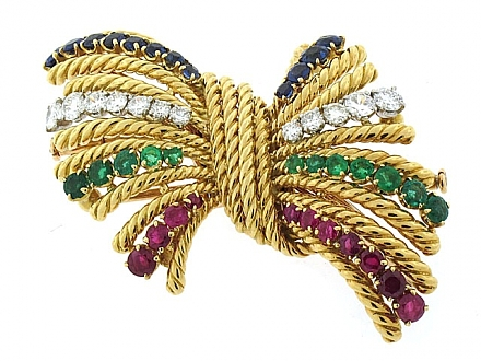 Gubelin Gemstone Double Clip Brooch in 18K