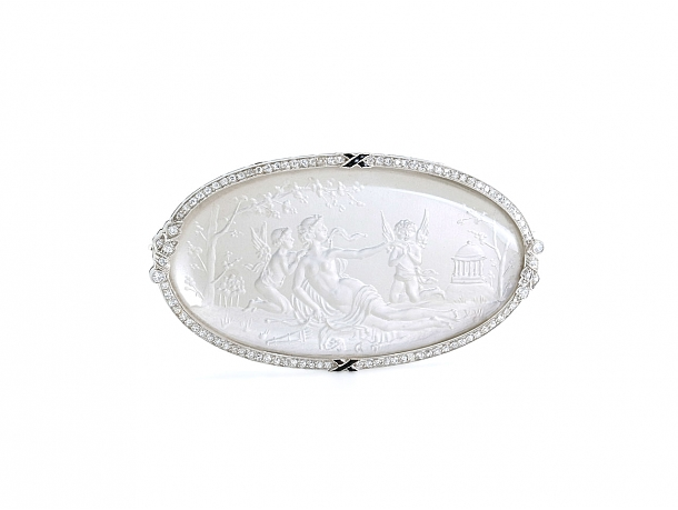Art Deco Crystal and Diamond Brooch in Platinum