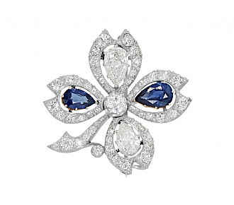 Antique Edwardian Sapphire and Diamond Clover Pin in Platinum