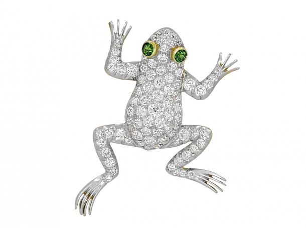 Antique Edwardian Diamond Frog Brooch in 18K and Platinum