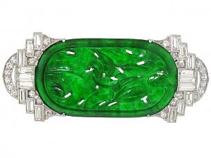 Art Deco Carved Jadeite and Diamond Brooch in Platinum