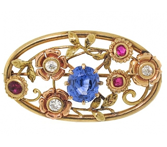 Retro Sapphire, Ruby and Diamond Flower Brooch in 14K