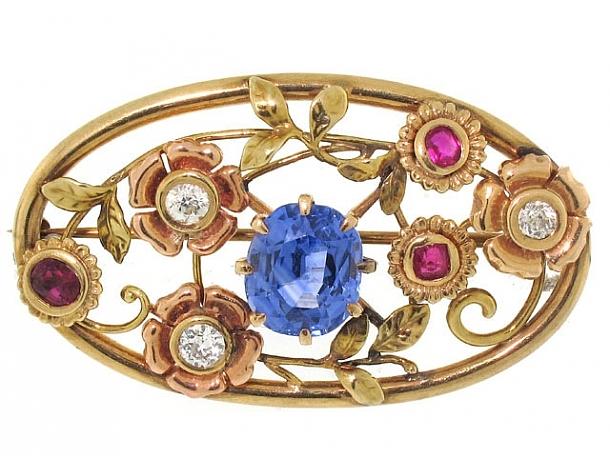 Retro Sapphire, Ruby and Diamond Flower Brooch in 14K