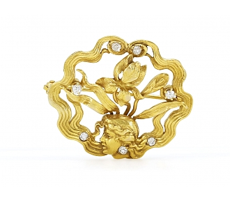 Antique Art Nouveau Diamond Brooch in 14K Gold