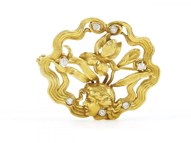 Video of Antique Art Nouveau Diamond Brooch in 14K Gold