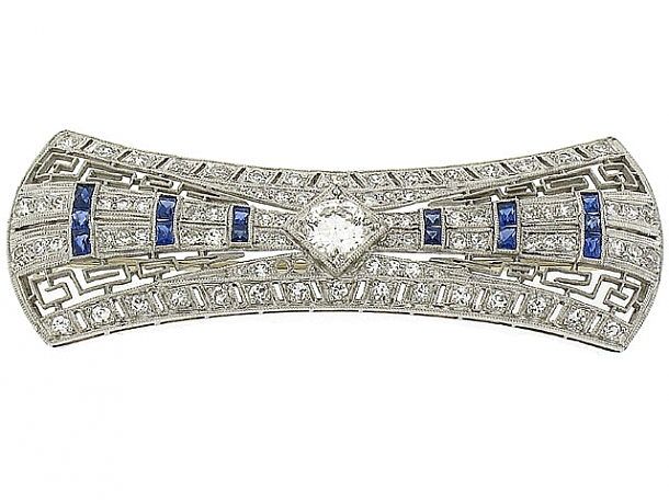 Art Deco Diamond and Sapphire Brooch in Platinum
