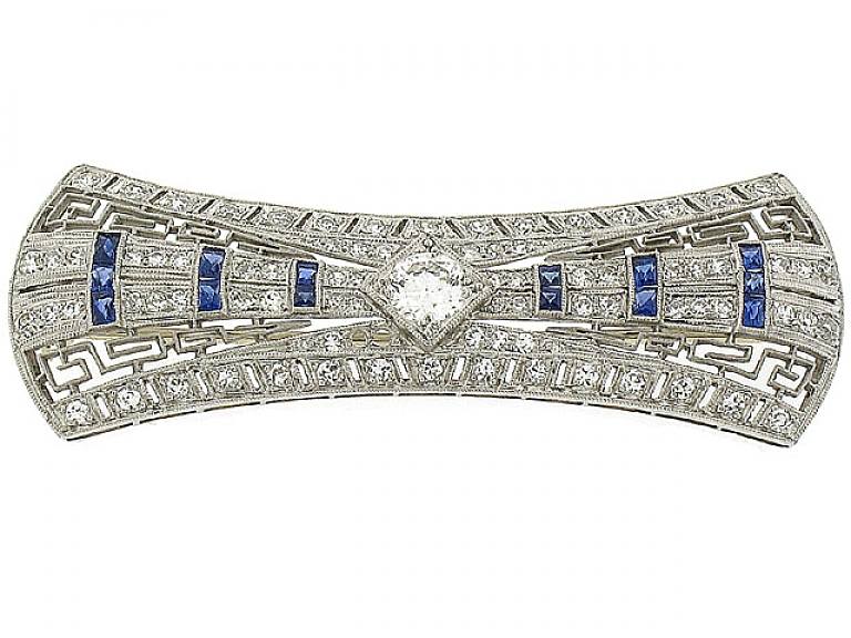 Video of Art Deco Diamond and Sapphire Brooch in Platinum