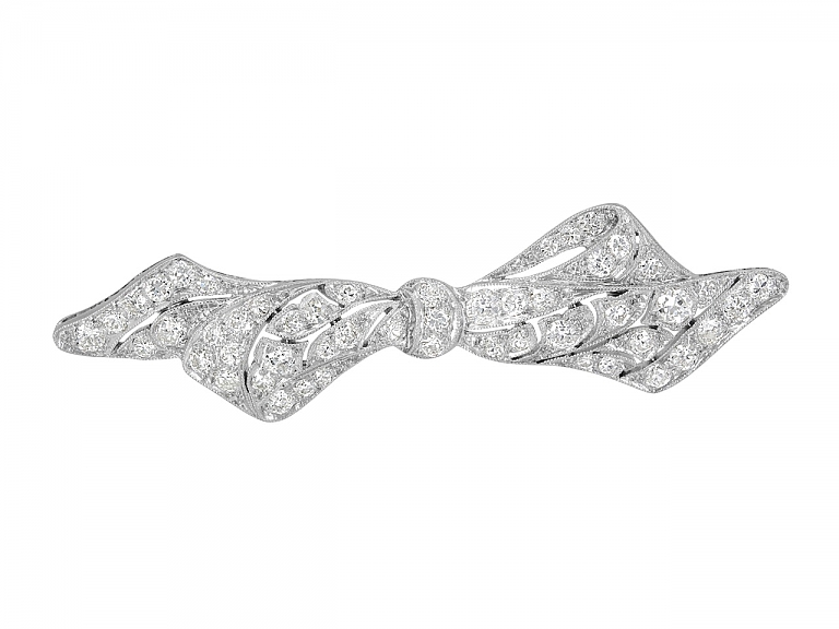 Video of Antique Edwardian Diamond Bow Brooch in Platinum