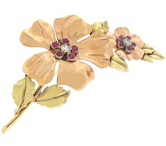 Cartier Retro Flower Brooch in 18K