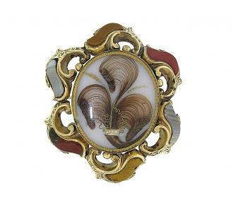 Antique Victorian Agate Brooch in 15K