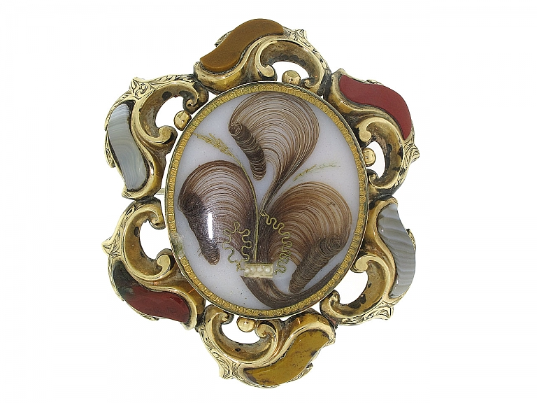 Video of Antique Victorian Agate Brooch in 15K