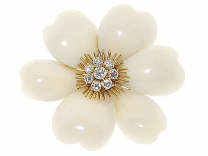 White Coral Flower Brooch in 18K