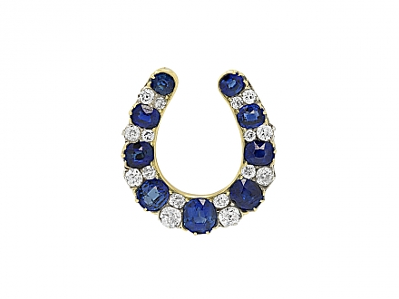 Edwardian Horseshoe Sapphire and Diamond Brooch in 14K Gold and Platinum
