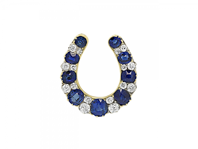 Video of Edwardian Horseshoe Sapphire and Diamond Brooch in 14K Gold and Platinum