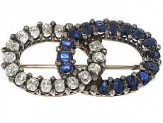 Antique Victorian Sapphire and Diamond Brooch in Silver and Gold