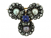 Antique Victorian Sapphire, Diamond and Pearl Brooch