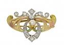 Antique Art Nouveau Enamel, Diamond and Natural Pearl Brooch/Pendant in 14K