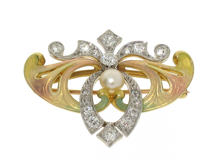 Video of Antique Art Nouveau Enamel, Diamond and Natural Pearl Brooch/Pendant in 14K