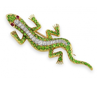 Antique Victorian Demantoid Garnet and Diamond Lizard Brooch in 14K Gold