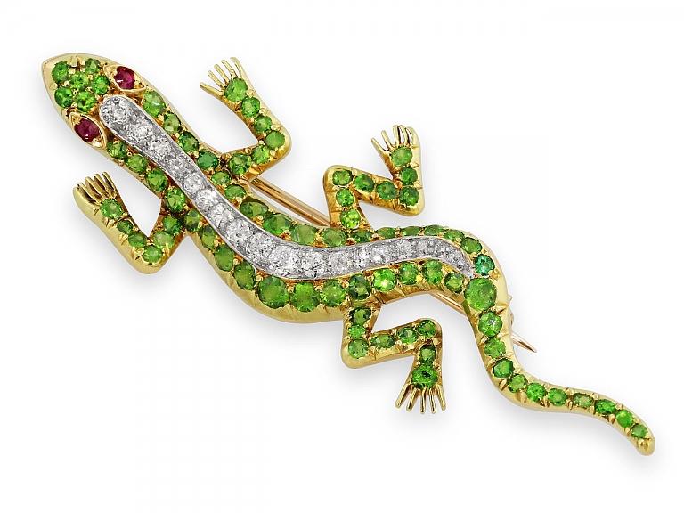 Video of Antique Victorian Demantoid Garnet and Diamond Lizard Brooch in 14K Gold