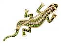 Antique Victorian Demantoid Garnet and Diamond Lizard Brooch in 14K Gold