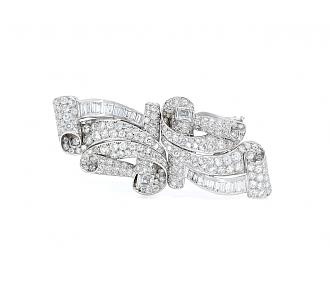 Mid-Century Diamond Double Clip Brooch in 18K White Gold