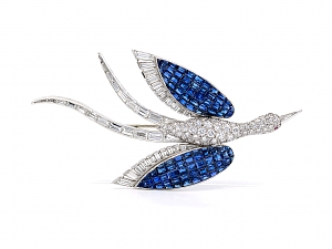 Invisibly-set Sapphire and Diamond Bird Brooch in Platinum
