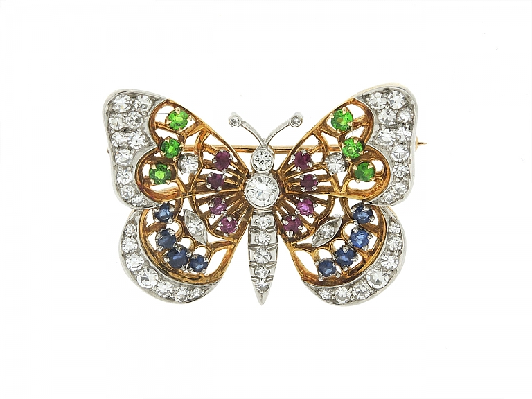 Video of Diamond and Gemstone Butterfly Brooch in 18K and Platinum