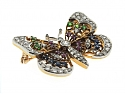Diamond and Gemstone Butterfly Brooch in 18K and Platinum