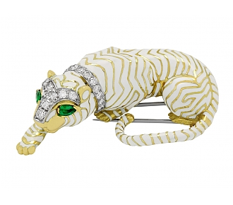 David Webb Tiger Brooch in White Enamel, Diamond and 18K Gold
