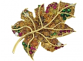 Friedrich Yellow, Brown and Orange Diamond, Emerald and Ruby 'Maple Leaf' Brooch in 18K